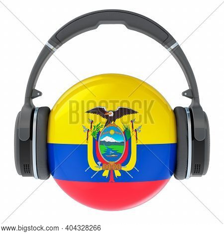 Headphones With Ecuadorian Flag, 3d Rendering Isolated On White Background