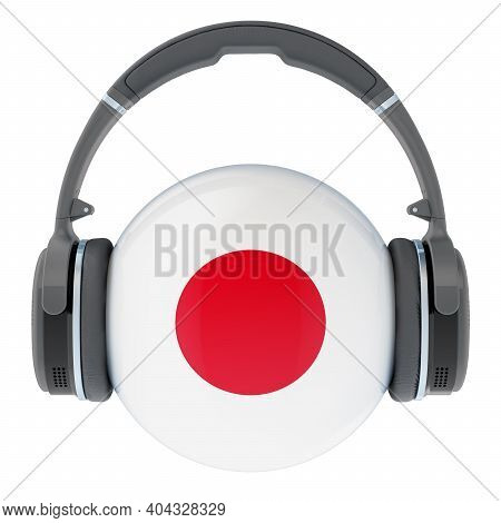 Headphones With Japanese Flag, 3d Rendering Isolated On White Background