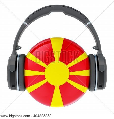 Headphones With Macedonian Flag, 3d Rendering Isolated On White Background