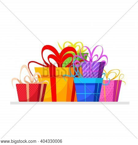 Festive Holiday Design Element On Stack Or Pile Of Large Variety Of Gift Boxes And Present Packages.