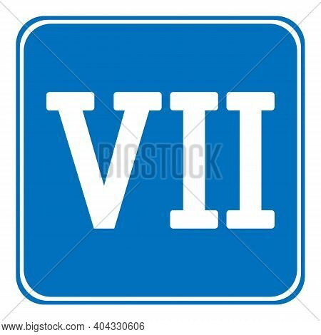 Roman Numeral Seven Button On White Background. Vector Illustration.