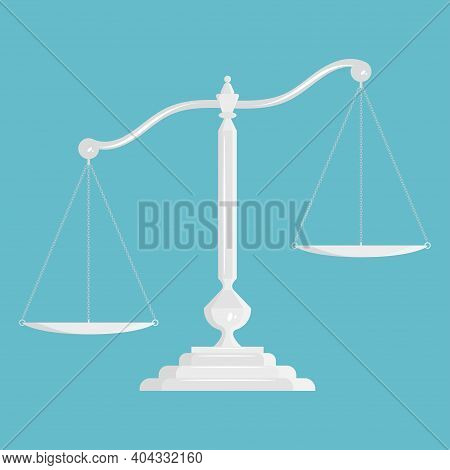 Scales Of Justice. Empty Metallic Or Silver Scale. Classic Balance Icon. Law Balance Symbol. Vector