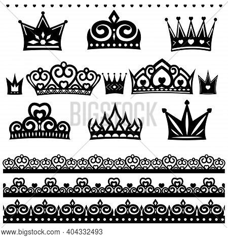 Openwork Crowns Set And Borders, Color Isolated Vector Illustration In Flat Style, Icon, Design, Dec