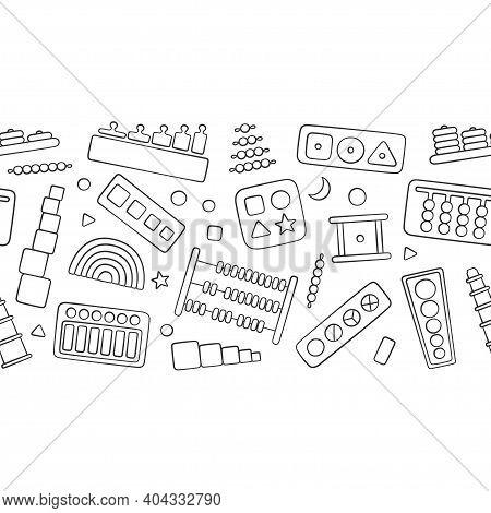 Hand Drawn Kid Toys For Montessori Games. Education Logic Toys For Preschool Children. Montessori Sy