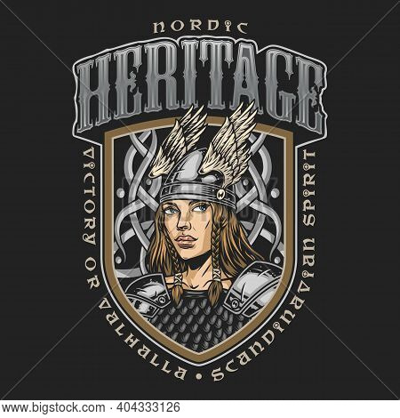 Viking Colorful Label In Vintage Style With Pretty Valkyrie In Winged Helmet And Armor Isolated Vect