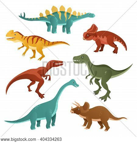 Collection Of Cartoon Dinosaurs Of Different Types. Funny Dinosaurs. Funny Animal Of The Jurassic Er