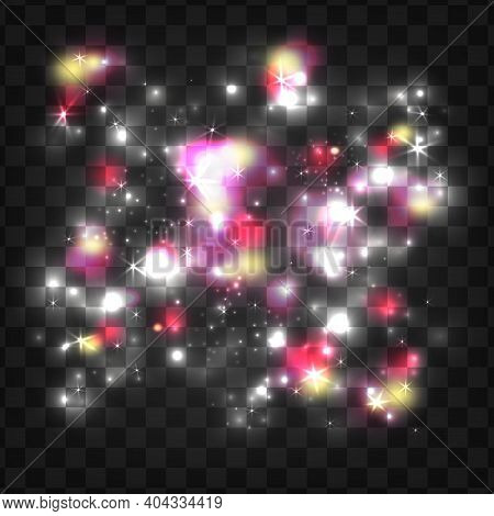 Glowing Light Particles. Double Exposure Space. Glowing Light. Shiny Particles. Magic Sparks. Glow E