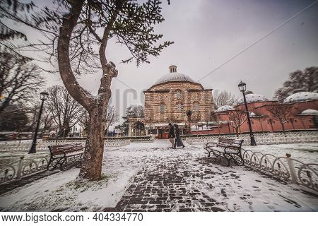 View Of Aya Sophia Hurrem Sultan Bathhouse In Sultanahmet Square In Snowy Winter Day, Istanbul City,