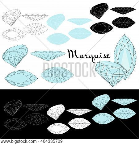 Marquise Cut. Cutting Gems Stones. Types Of Diamond Cut. Four Sides Of Jewelry With Facets For Backg