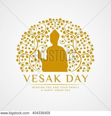 Vesak Day Banner With Gold The Buddha In Circle Abstract Bodhi Branch Sign Vector Design