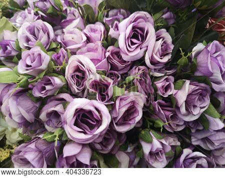 Violet Rose Handmade Beautiful Artificial Bouquet Flowers Decoration Ornamental Background In Vintag