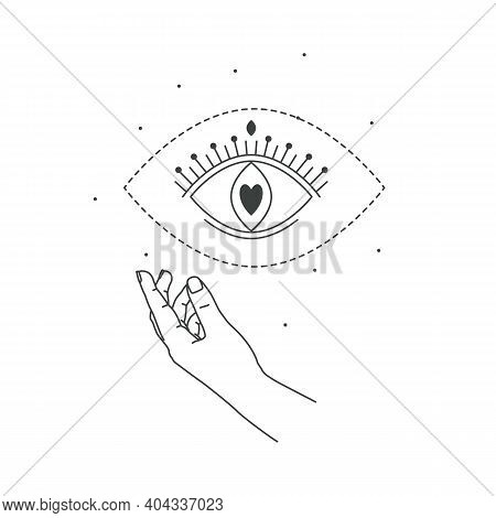 Vector Illustration Of Hand And Mystic Eye Love Magic. Line Art Style. Love Boho Symbol. Feminine Ge