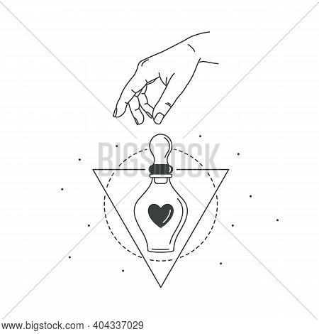 Vector Illustration Of Hand And Mystic Love Potion. Line Art Style. Love Boho Symbol. Feminine Gestu