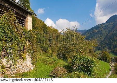The Autumn Landscape Near Zadlaz-cadrg And Zatolmin In The Tolmin District Of The Slovenian Littoral