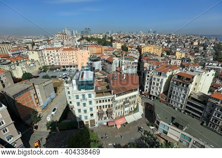 Istanbul, Turkey - October 07, 2020. Skyline Of Istanbul, Seen From Galata Tower. View Of The Galata