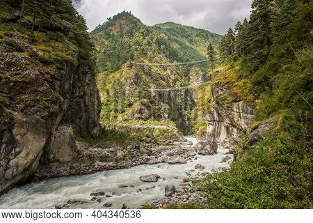 The Natural Landscape With Tenzing-hillary Suspension Bridge, The Bridge Build For Crossing The Rive