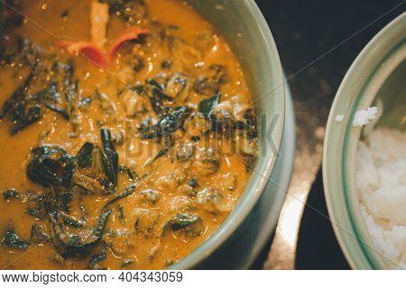 Thai Curry With River Snail. Thai Call Kang Kua Hoi Khom Is The Delicious Thai Food. Traditional Tha