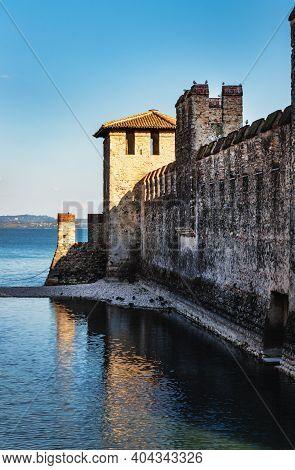 Scaliger Castle Wall In Sirmione On Lake Garda