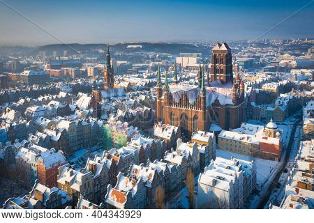 Beautiful scenery of Gdansk over Motlawa river at snowy winter, Poland