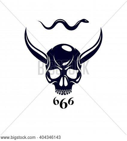 Devil Sign Horned Skull Vector Illustration Classic Style Tattoo, Dead Scull With Animal Horns.