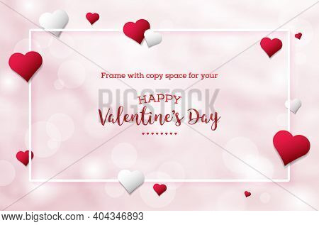 Valentines Day Card Template. Pink Background With Abstract Hearts And Frame With Place For Your Tex
