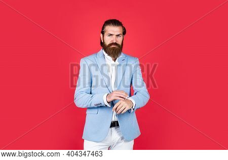 Male Beauty Standards. Formal Party Dress Code. Old Fashioned Bearded Hipster. Hairdresser Concept.
