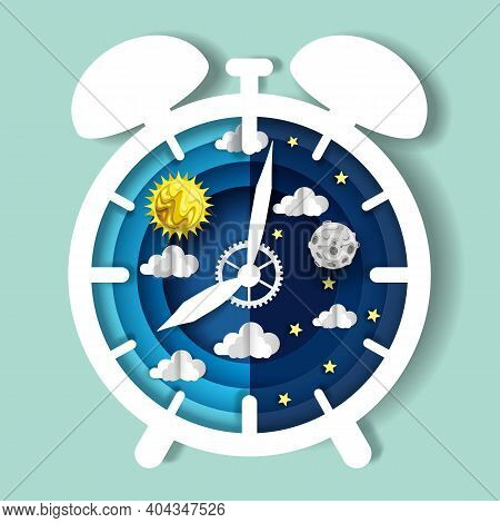 Paper Cut Craft Style Clock With Day And Night Sky On Dial, Vector Illustration. Sleep Wake Cycle. C