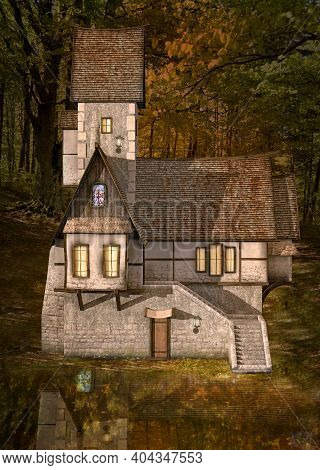 Bizarre Haunted House By A Lake In The Middle Of The Dark Forest - 3d Illustration