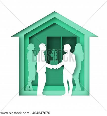 Broker And Client Handshake, Vector Illustration In Paper Art Style. Real Estate Negotiations, Succe