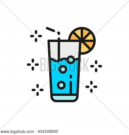 Lemonade, Glass With Drink, Mojito, Alcohol Flat Color Line Icon.