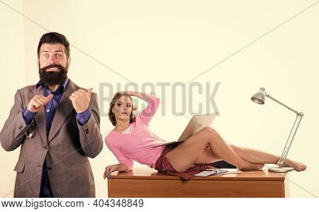 Sexy Personal Secretary. Full Of Desire. Sexy Lady Worker Attractive Legs. Boss Excited About Sexy S