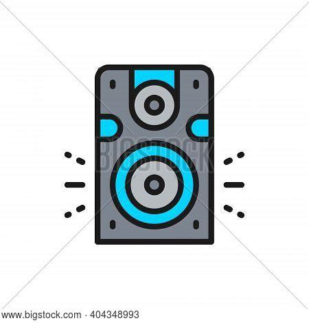 Speaker, Subwoofer, Audio Equipment Flat Color Line Icon.