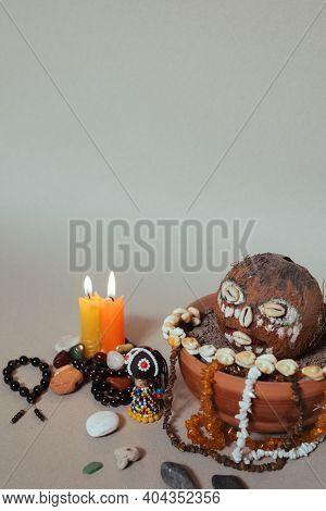 Occult Altar For African Gods. Shamanism Occult Tone.