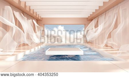 3d Render Abstract Platform Podium On Water And Waving Curtains. Realistic Pastel Mock-up For Produc