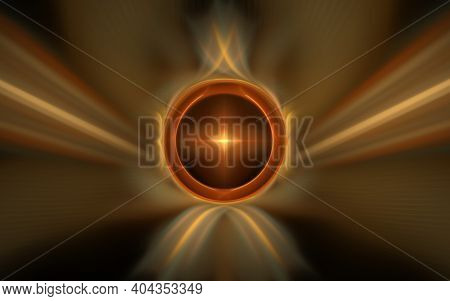 Abstract Illustration Background Image Orange Bright Star Framed By A Brown Circle With Blurred Edge