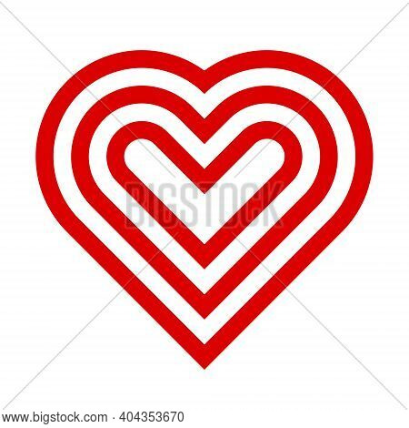 Symbol Icon Symmetrical Heart Shape, Bold Lines, Red And White, 3 Layers. Concept Ideas For Valentin