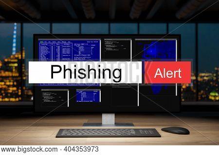 Computer Workstation In Dark Night Office Skyline View Warning Phishing Alert, 3d Illustration