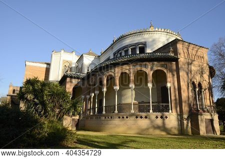 Backside Of Mudejar Architecture Pavilion In Park Of Seville, The Capital Of Andalusia, Spain.