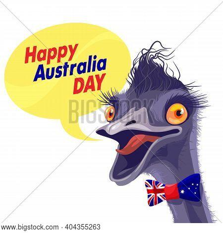 Vector Illustration Cheerful Ostrich Congratulates On Australia Day. Personad Head Ostrich Emu Says