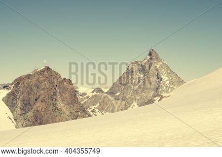 Spectacular Mountain View With Matterhorn Raising Above Ski Resort During Summer.