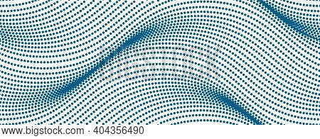 Wavy Lines Make With Dots Vector Seamless Pattern, Dotted Waves Endless Background.