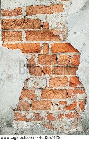Cracked Old Brick Wall Texture. Painted Distressed Surface. Grungy Wide Brickwall. Grunge Red Stonew