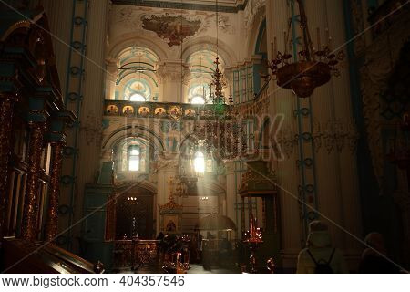 One Of The Great Monasteries Of Russia. New Jerusalem Monastery, Interior. Out Of Focus, Soft Focus.