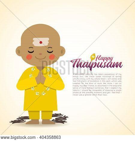 Thaipusam Or Thaipoosam - Festival Celebrated By The Tamil Community. Cartoon Head Shave Indian Boy