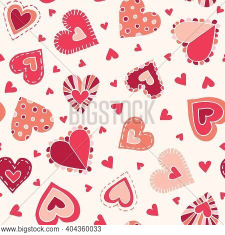 Valetnines Day Holiday Hand-drawn Craft Doodle Colorful Hearts On Cream Background Vector Seamless P