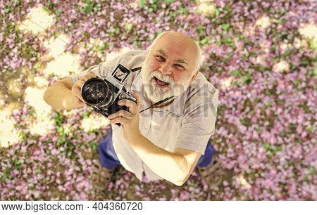 Photography Hunt. Old Happy Man Looking Upwards At Tree. Senior Man Holding Professional Camera. Pho
