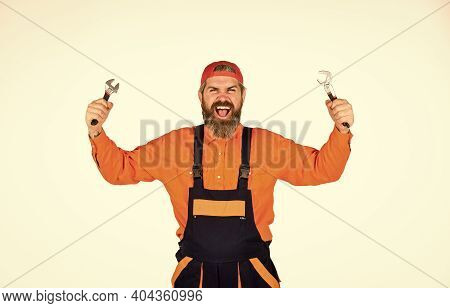 Fix Car. Service And Engineering Concept. Man Hold Wrench Tools White Background. Wrench Tool. Decen