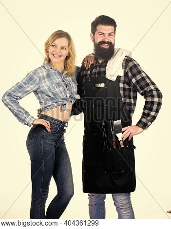 Man Bearded Hipster And Girl Ready For Barbecue White Background. Backyard Barbecue Party. Family Bb