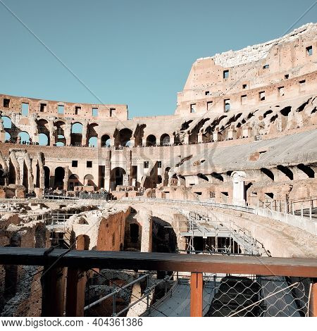 Rome, Italy - February 7, 2020:  Roman Colosseum Interior. Panarama View Inside Ancient Colosseum.
