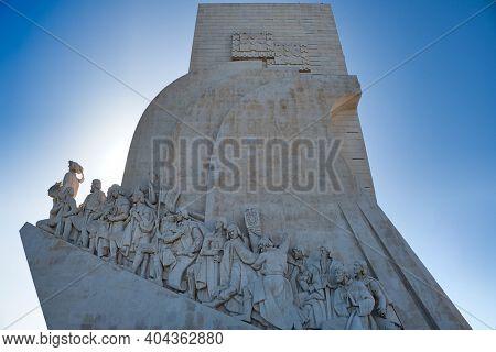 Lisbon, Portugal - October 01, 2019: Details Of Belem Monument To The Discoveries  In Belem District